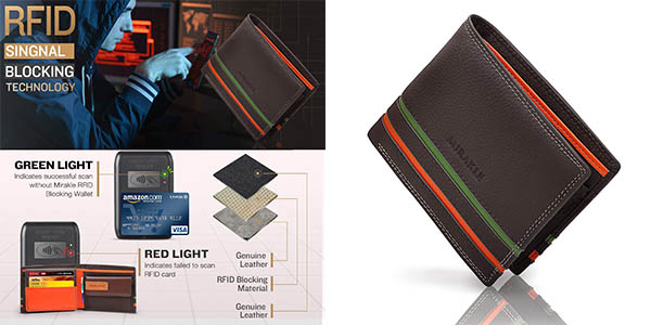 Mirakle cartera de piel RFID barata
