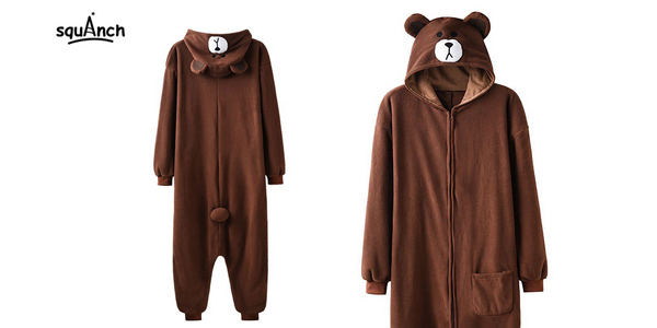 Mono de felpa con capucha de oso squAnch barato en AliExpress