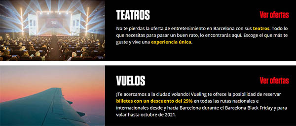 Ofertas vuelos teatro y planes Barcelona black Friday