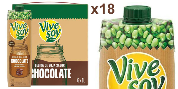 Pack x18 briks Vivesoy Chocolate bebida de soja de 1L/ud barato en Amazon