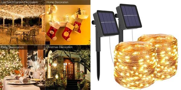 Pack x2 Guirnaldas Luces LED de exterior solares barato en Amazon