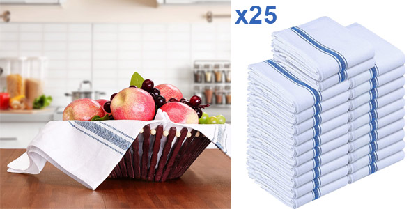 Pack 24 paños de cocina Utopia Towels de algodón puro baratos en Amazon