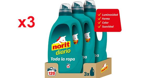 Pack x3 Norit Diario Detergente Líquido para Todos los Tejidos y Colores de 2120 ml barato en Amazon