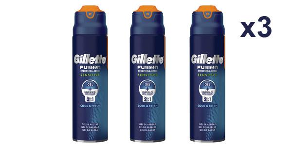 Pack x3 Gillette Fusion ProGlide Sensitive 2 En 1 Cool & Fresh Gel De Afeitado de 170 ml/ud barato en Amazon