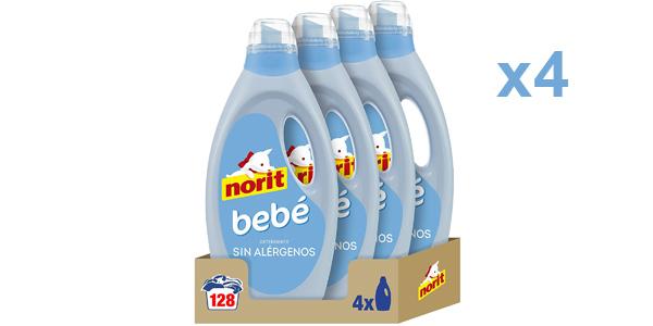 Pack x4 Detergente Líquido Norit Bebé Sin Alérgenos de 128 lavados barato en Amazon