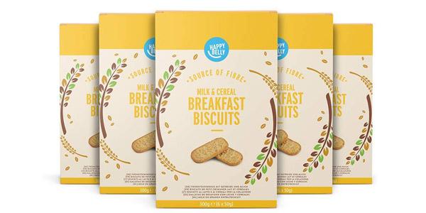 Pack x5 paquetes de galletas Marca Amazon Happy Belly para el desayuno de 300 gr/ud chollo en Amazon