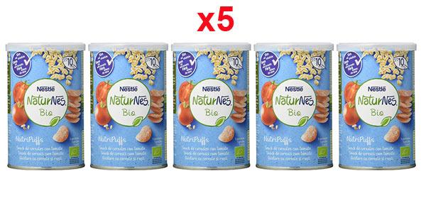 Pack x5 Nestlé Naturnes Bio Nutri Puffs Snack De Cereales Con Tomate, A Partir De 10 Meses de 35g barato en Amazon