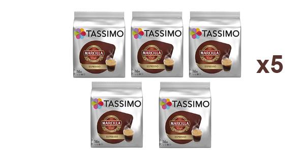 Pack x5 paquetes de 16 cápsulas Marcilla Café Espresso Tassimo barato en Amazon