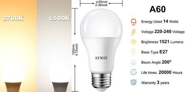 Pack de 6 bombillas LED LVWIT A60 E27 de 14 W en oferta