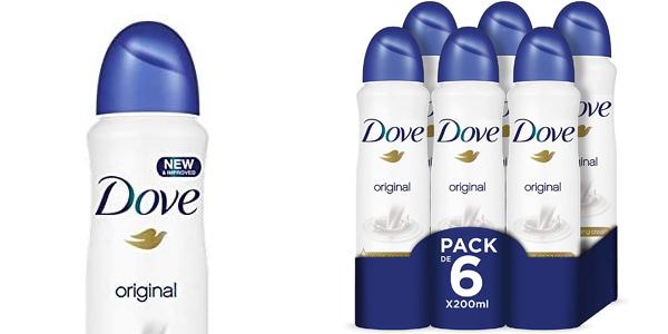Pack x6 desodorante Dove Original de 200 ml barato en Amazon
