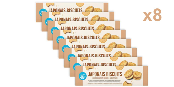 Pack x8 paquetes galletas Marca Amazon Happy Belly Japonais (merengue con chocolate y avellana) de 100 gr baratas en Amazon