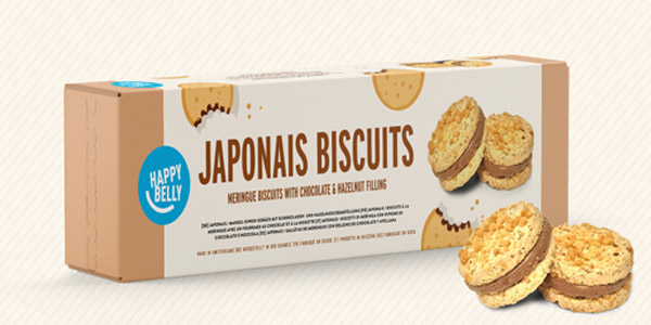 Pack x8 paquetes galletas Marca Amazon Happy Belly Japonais (merengue con chocolate y avellana) de 100 gr chollo en Amazon