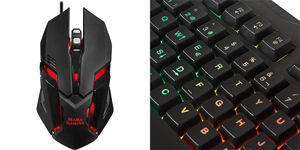 Pack Mars Gaming MCP118 de teclado, ratón y algombrilla gaming