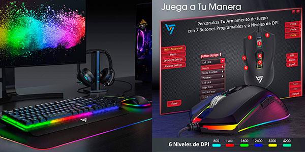 Pack VicTsing de Teclado + Ratón Gaming LED barato