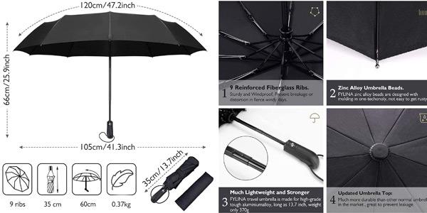 Paraguas plegable Fylina a prueba de viento chollo en Amazon