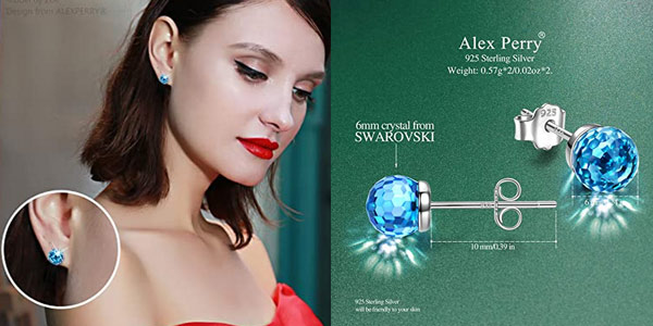 Pendientes Alex Perry con plata de ley y cristales de Swarovski chollo en Amazon