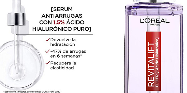 Sérum Antiarrugas L'Oréal Paris Revitalift Filler de 30 ml barato en Amazon