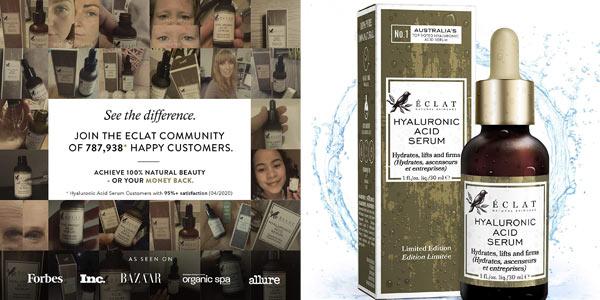 Sérum con Ácido Hialurónico Orgánico Éclat Natural Skincare de 30 ml barato en Amazon