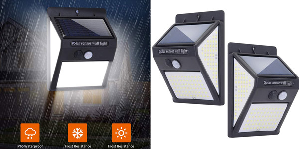 Set x2 apliques solares de pared con 140 LED JSDing barato en Amazon