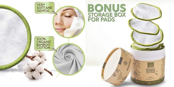 Set x20 discos desmaquillantes reutilizables Greenzla con bolsa de lavado oferta en Amazon