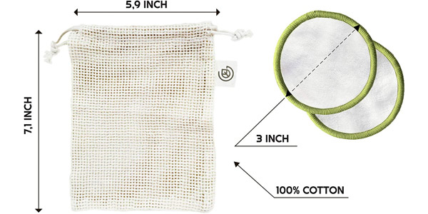 Set x20 discos desmaquillantes reutilizables Greenzla con bolsa de lavado chollo en Amazon