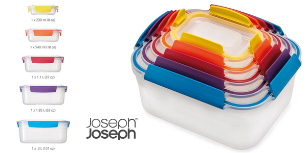 Set x5 recipientes de almacenamiento anidables Joseph Joseph Nest Lock sin BPAs barato en Amazon