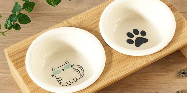 Set de Comedero y bebedero elevado Navaris de diseño para perro y gato barato en Amazon