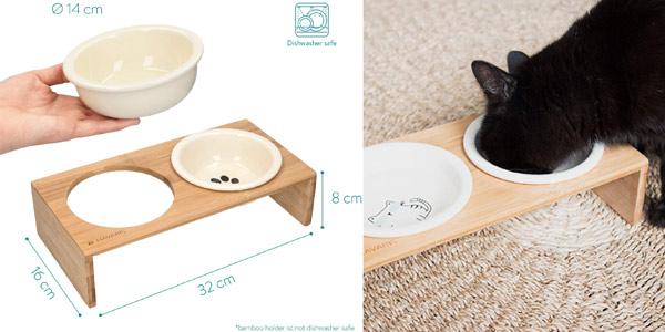 Set de Comedero y bebedero elevado Navaris de diseño para perro y gato oferta en Amazon