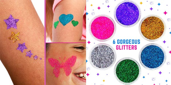 Set Tatuajes de purpurina temporales GirlZone Glitter Tattoo Studio para niños oferta en Amazon