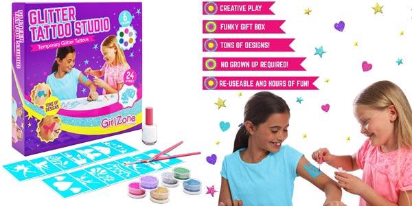 Set Tatuajes de purpurina temporales GirlZone Glitter Tattoo Studio para niños barato en Amazon