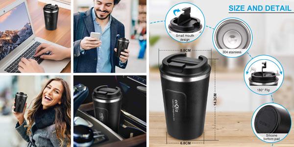 Taza de café para llevar eeQiu oferta en Amazon