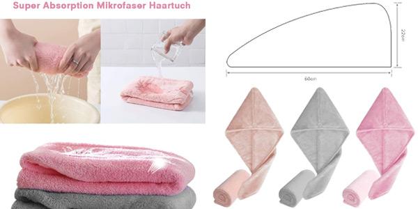 Juego de 3 toallas turbante Geekhom para secado rápido chollo en Amazon