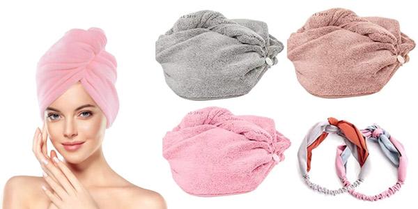 Juego de 3 toallas turbante Geekhom para secado rápido baratas en Amazon