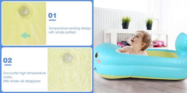 Bañera Hinchable y Plegable con forma de Ballena y Sensor de Temperatura para bebé Jerryvon chollo en Amazon