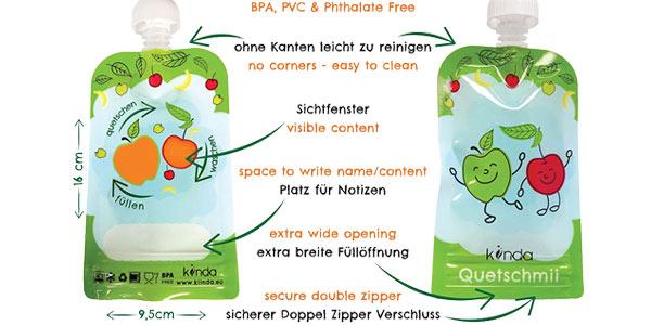 Pack x6 Bolsas de comida para bebés reutilizables de 100 ml/ud oferta en Amazon