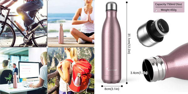 Botella termo Sportneer de 500 ml en acero inoxidable oferta en Amazon