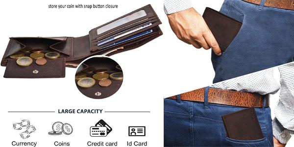 Cartera de cuero Eono Essentials RFID para hombre oferta en Amazon