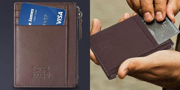 Cartera de piel con monedero Slim Flintronic para tarjetas de crédito