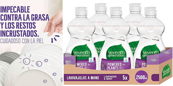 Chollo Pack de 5 lavavajillas a mano Seventh Generation de 500 ml