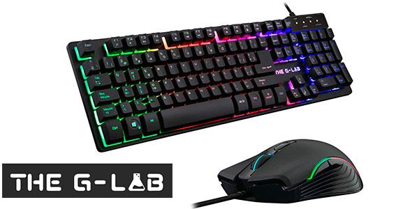 Chollo Pack THE G-LAB Krypton de teclado gaming USB + ratón RGB