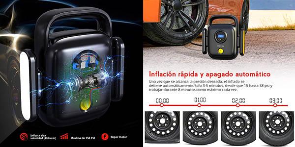 compresor Cooau portátil medir nivel presión ruedas coche oferta
