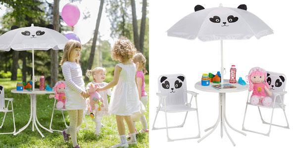 Set de Mobiliario Infantil Relaxdays para jardín con Sombrilla, Sillas Plegables y Mesa barato en Amazon