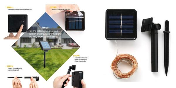 Guirnalda solar con 100 luces LED chollo en AliExpress