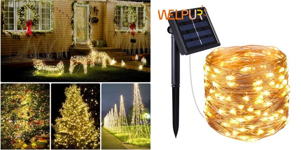 Guirnalda solar con 100 luces LED barata en AliExpress