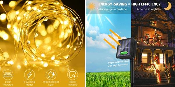Guirnalda solar con 100 luces LED oferta en AliExpress