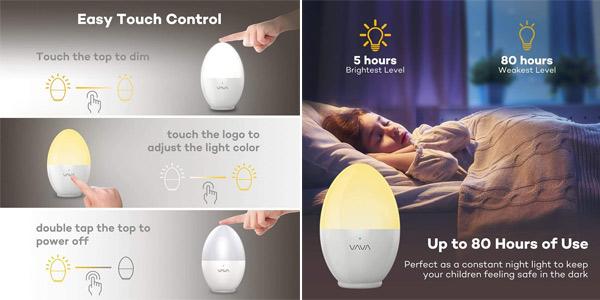 Luz Nocturna Infantil LED VAVA de carga USB y brillo ajustable chollo en Amazon