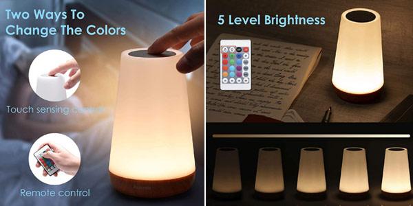 Luz Nocturna LED Auxmir de 13 colores con mando remoto oferta en Amazon