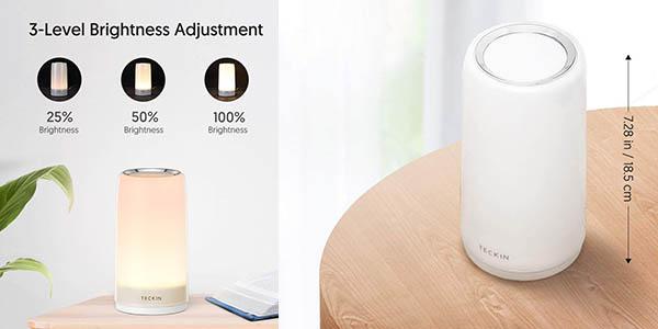 lámpara para mesita de noche Teckin regulable en luz de colores barata