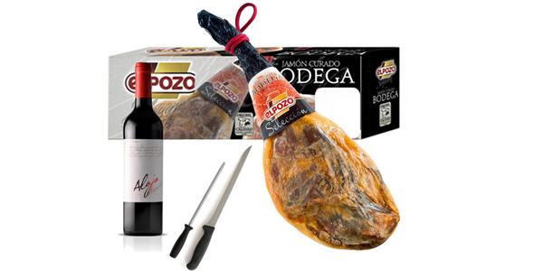 Lote jamón curado en bodega selección El Pozo 7 kg + Vino + Cuchillo + Chaira barato en Carrefour