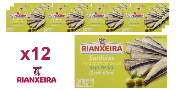 Pack x12 latas Rianxeira Conserva sardina, sardinillas en aceite de oliva bajo en sal de 81 gr/ud barato en Amazon